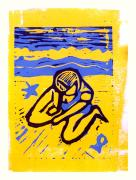 Lino Framed Prints - Shellie - the yellow sand Framed Print by Adam Kissel