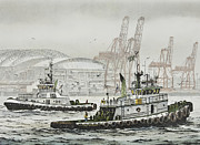 Nautical Print Painting Originals - SHELLY and WEDELL FOSS by James Williamson