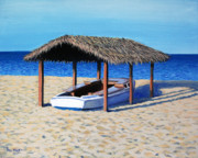 Boat On Beach Paintings - Sheltered Boat by Paul Walsh