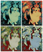 Variety Of Colors Posters - Sheltie Dog Warhol Poster by RJ Aguilar
