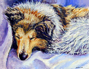Puppies Painting Originals - Sheltie Napster by Lyn Cook