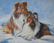 Xmas Painting Prints - Sheltie pair Print by Lee Ann Shepard
