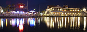 Donny Metal Prints - Shem Creek by night - Panoramic Metal Print by Donni Mac