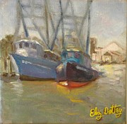 Boats At Dock Prints - Shem creek shrimps Print by Liz Dettrey