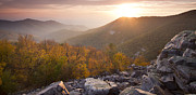 Sunset In Mountains Posters - Shenandoah National Park Sunset Black Rock Poster by Dustin K Ryan