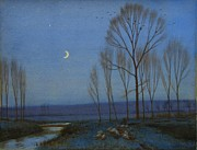 Winter Landscapes Posters - Shepherd and Sheep at Moonlight Poster by OB Morgan