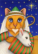 Star Of Bethlehem Painting Posters - Shepherd Cat Poster by Carol Wilson