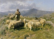 Flock Of Sheep Painting Posters - Shepherd of the Pyrenees Poster by Rosa Bonheur