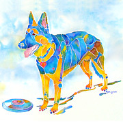 Toy Breeds Posters - Shepherd with Frisbee - Play with Me Poster by Jo Lynch