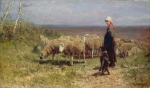 Livestock Paintings - Shepherdess by Anton Mauve