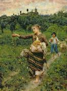 Livestock Paintings - Shepherdess carrying a bunch of grapes by Francesco Paolo Michetti