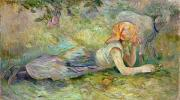 Lying Metal Prints - Shepherdess Resting Metal Print by Berthe Morisot