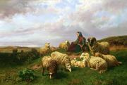 Sheep Dog Posters - Shepherdess resting with her flock Poster by Edmond Jean-Baptiste Tschaggeny