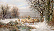 Winter Landscapes Posters - Shepherdess with her Flock in a Winter Landscape Poster by Alexis de Leeuw