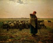 Evening Scenes Painting Posters - Shepherdess with her Flock Poster by Jean Francois Millet