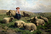 Farm Animals Framed Prints - Shepherdess with Sheep in a Landscape Framed Print by C Leemputten and T Gerard