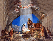 Christmas Drawings Framed Prints - Shepherds Field Nativity Painting Framed Print by Munir Alawi
