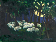 Animals Sleeping Posters - Shepherds Watch Poster by Ethel Vrana