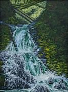 Waterfalls Paintings - Sheppards Dell Falls by Ron Smothers