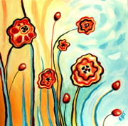 Flowers Paintings - Sherbert and Powder Blue Skies by Elizabeth Robinette Tyndall