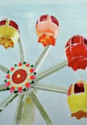 Wheel Drawings Prints - Sherbert Ferris Wheel Print by Glenda Zuckerman