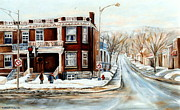 French Cities Paintings - Sherbrooke Street In Winter Montreal City Scene by Carole Spandau