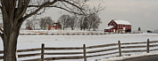 Battle Of Gettysburg Posters - Sherfy Farm In The Snow At Gettysburg Poster by Greg Dale