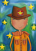 Boy Paintings - Sheriff - Cowboy by Sonja Mengkowski