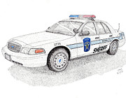 Patrol Drawings Posters - Sheriff Car 2724 Poster by Calvert Koerber