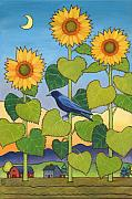 Crow Framed Prints - Sheris Sunflowers Framed Print by Stacey Neumiller
