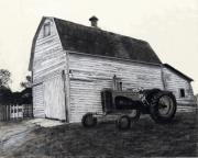 Landscape Framed Prints Drawings Prints - Sherrys Barn Print by Bryan Baumeister