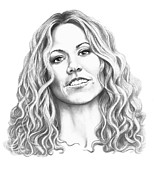Graphite Portrait Drawings - Sheryl Crow by Murphy Elliott