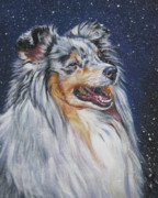 Shetland Sheepdog In Snow Print by Lee Ann Shepard
