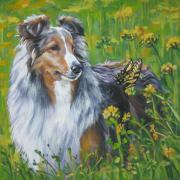 Sheepdog Framed Prints - Shetland Sheepdog Wildflowers Framed Print by L A Shepard