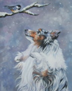 Christmas Dog Posters - Shetland Sheepdog with chickadee Poster by Lee Ann Shepard