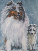 Shetland Dog Framed Prints - Shetland Sheepdogs in snow Framed Print by Lee Ann Shepard