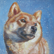 Puppy Paintings - Shiba Inu in snow by Lee Ann Shepard