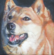 Pets Paintings - Shiba inu by Lee Ann Shepard
