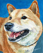 Dog Art Paintings - Shiba Inu on Blue by Dottie Dracos