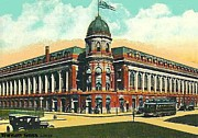 Baseball Stadiums Painting Framed Prints - Shibe Park Baseball Stadium In Philadelphia Pa Framed Print by Dwight Goss