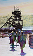 Miners Paintings - Shifts end by Paul Parsons