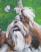 Shih Tzu Posters - Shih Tzu and butterfly Poster by Lee Ann Shepard