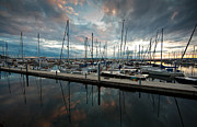 Seattle Washington Framed Prints - Shilshole Marina Tranquility Framed Print by Mike Reid
