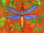 Yellow Dragonfly Posters - Shining Dragonfly Poster by Mary Ogle