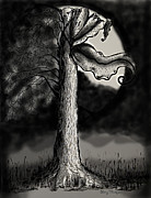 Surrealism Drawings Prints - Shining through the Darkness Print by Sherry Thompson