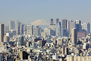 High-rise Prints - Shinjuku Skyline with Mt Fuji Print by Jeremy Woodhouse