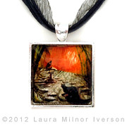 Garden Jewelry - Shinto Lantern at Dusk Pendant by Laura Iverson