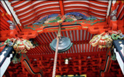 Red Roof Prints - Shinto Shrine Print by Eena Bo