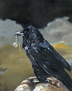 Raven Paintings - Shiny by J W Baker