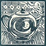 Linoprint Framed Prints - Shiny teapot Framed Print by Jennifer Harper